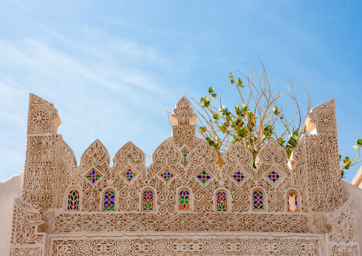 Top of al-refae e house gateway decorated with stucco, Jizan Region, Farasan island, Saudi Arabia