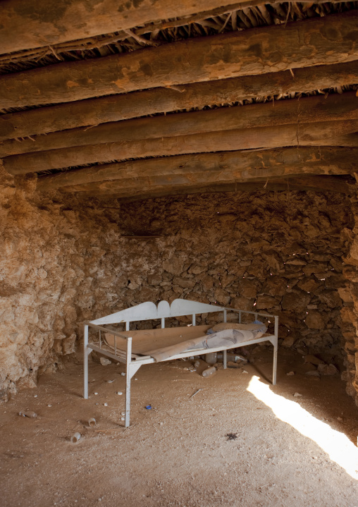 Bed inside a traditional house, Red Sea, Farasan, Saudi Arabia