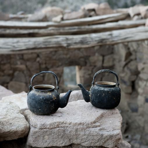 Coffe pots in an old house, Asir province, Sarat Abidah, Saudi Arabia