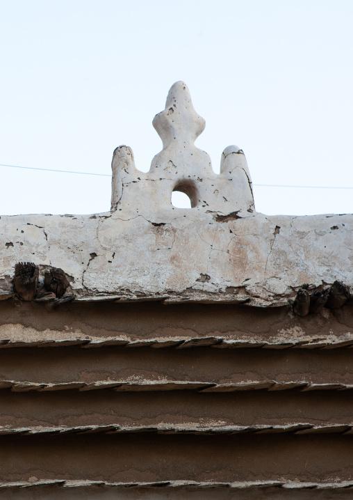 Detail of an old traditional house, Asir province, Abha, Saudi Arabia