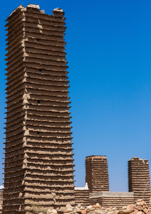 Traditional clay and silt watchtower used as a granary, Asir Province, Aseer, Saudi Arabia