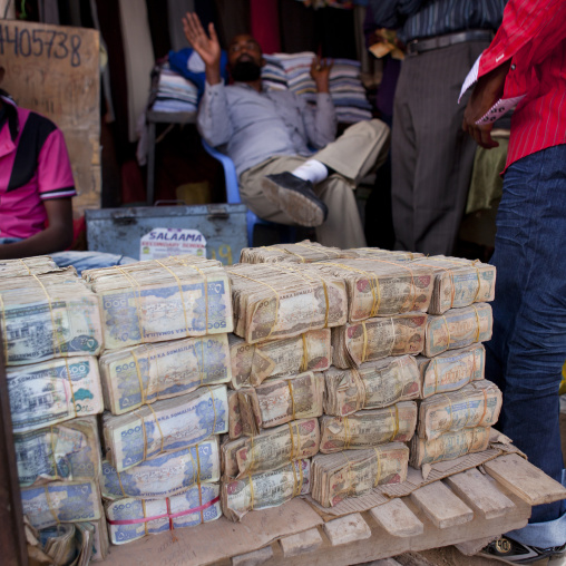 Wads Of Money Changers On A Stall Near Hargeisa Market, Somaliland