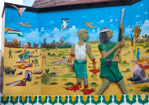 Fresco commemorating somaliland's breakaway from the rest of somalia during the 1980s, Woqooyi Galbeed region, Hargeisa, Somaliland