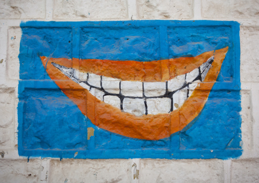 Dentist Advertisement Painted Sign Showing Mouth And Teeth, Hargeisa, Somaliland