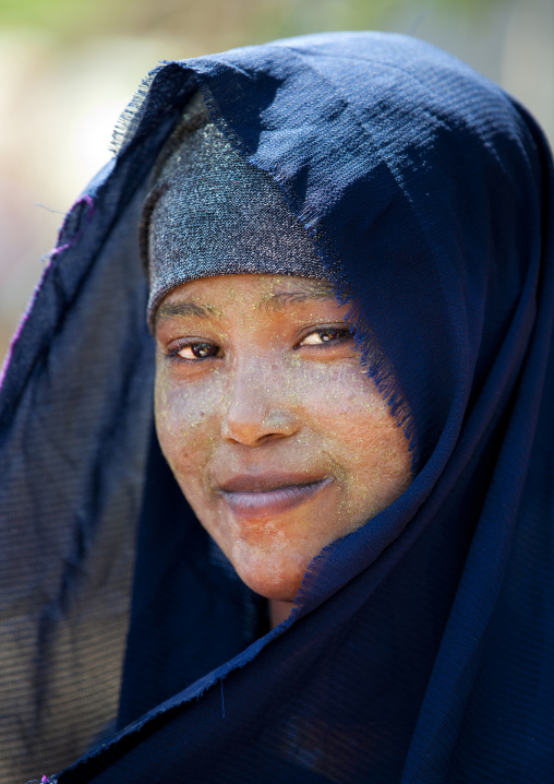 Portrait Of A Smiling Young Woman With A Black Veil, Hargeisa, Somaliland