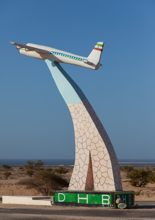 Plane statue at the entrance of the airport, North-Western province, Berbera, Somaliland