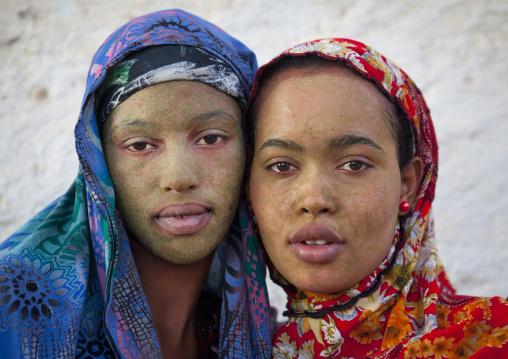 Portrait Of Two Black Veiled Teenage Girls Wearing Qasil On Their Faces, Berbera, Somaliland