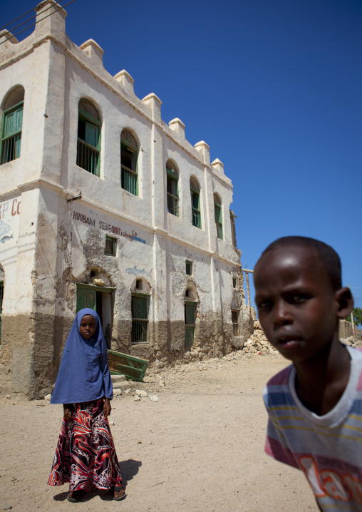 Young Boy And Girl Outside A Former Ottoman Empire House, Berbera Area, Somaliland