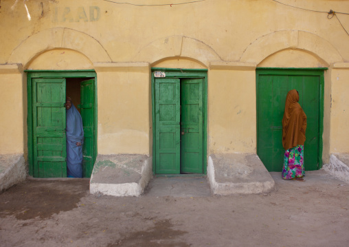 Coming In And Out Of A Former Ottoman Empire House Green Doors, Berbera Area, Somaliland