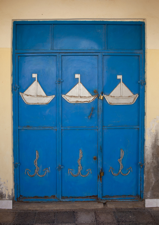 White Boats Painted On A Blue Door, Berbera, Somaliland