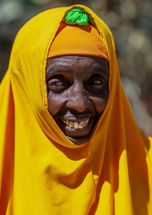 Portrait of a somali woman in yellow hijab, North-Western province, Berbera, Somaliland