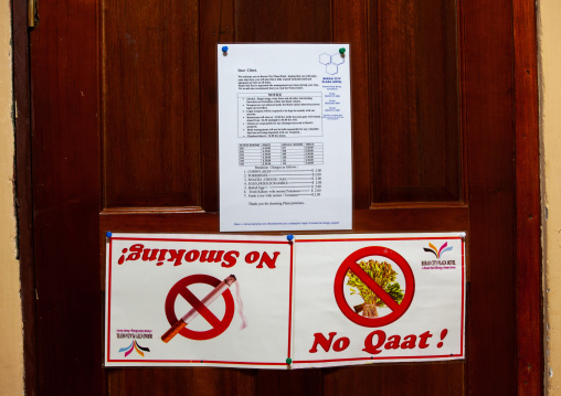 No smoking and khat prohibition signs in a room of plaza hotel, Togdheer region, Burao, Somaliland