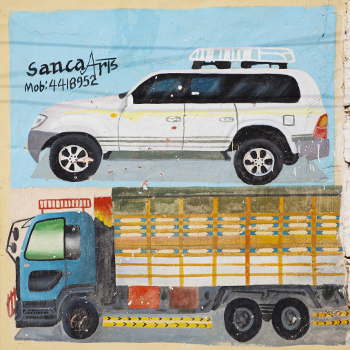 Advertisement For A Transportation Company Displaying Two Vehicles Painted Onto A Wall, Burao, Somaliland
