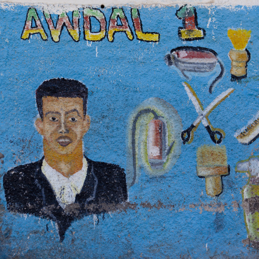 A Painted Advertisment Sign For A Barbershop And Hairdresser Salon Depicting A Man And Barber Tools, Boorama, Somaliland