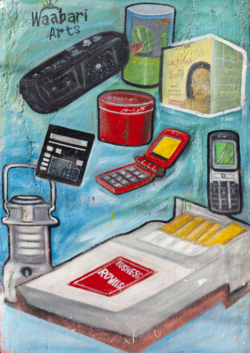 A Painted Advertisement Bilboard For A Telecommunication Shop, Boorama, Somaliland