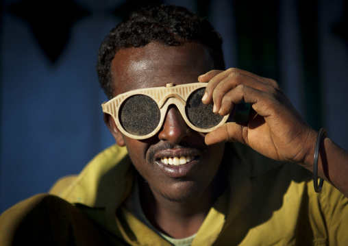 Portrait Of A Soldering Man Wearing Protection Sunglasses, Boorama, Somaliland