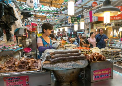 Pork at gwangjang traditional market, National capital area, Seoul, South korea