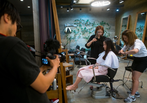 South korean woman in a beauty saloon, National capital area, Seoul, South korea