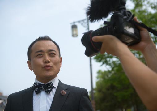 North korean defector joseph park recording a video on the dmz, Sudogwon, Paju, South korea