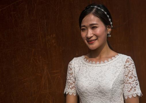 South korean woman called juyeon in her wedding dress, Sudogwon, Paju, South korea