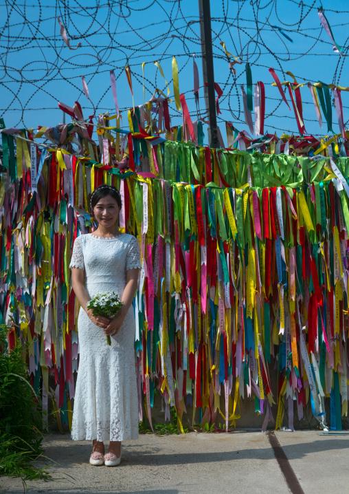 South korean woman called juyeon on the north and south korea border, Sudogwon, Paju, South korea