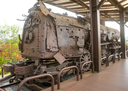 Rusty train at imjingak on the high security border between south and north korea, Sudogwon, Paju, South korea