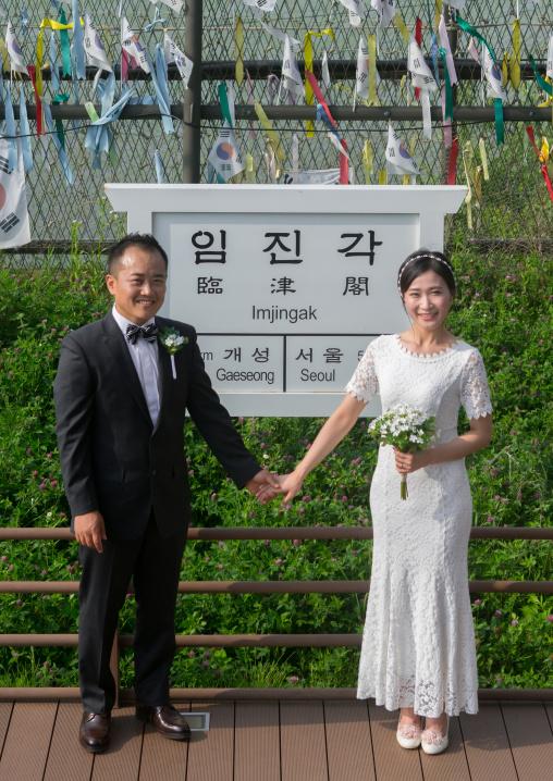 North korean defector joseph park with his south korean fiancee called juyeon on the north and south korea border, Sudogwon, Paju, South korea