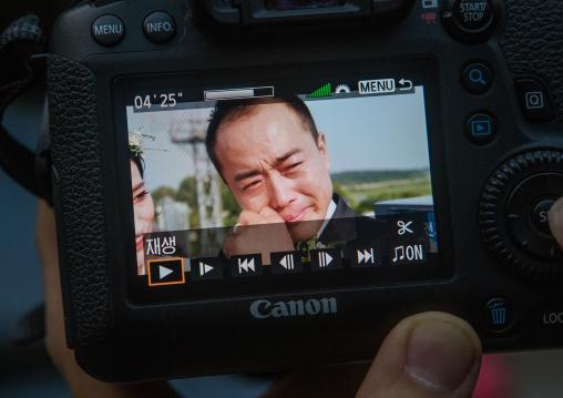North korean defector jjoseph park crying while recording a video on the dmz, Sudogwon, Paju, South korea