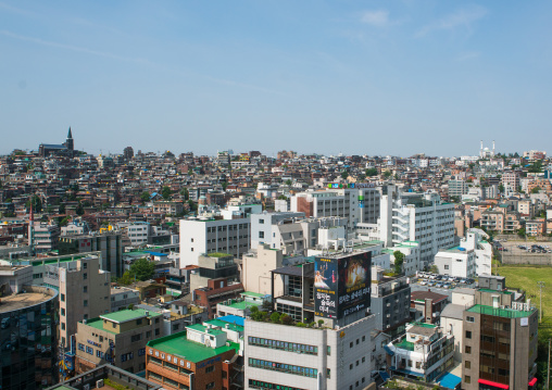 Christian church and mosque in a densely populated urban neighborhood, National capital area, Seoul, South korea