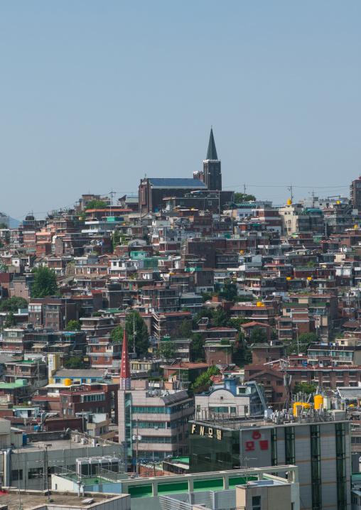 Christian church in a densely populated urban neighborhood, National capital area, Seoul, South korea