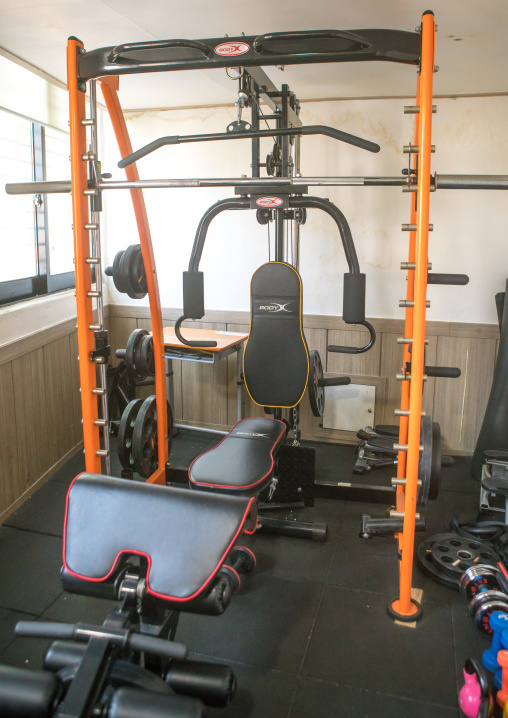 Weight machines in fitness room in yeomyung school, National capital area, Seoul, South korea