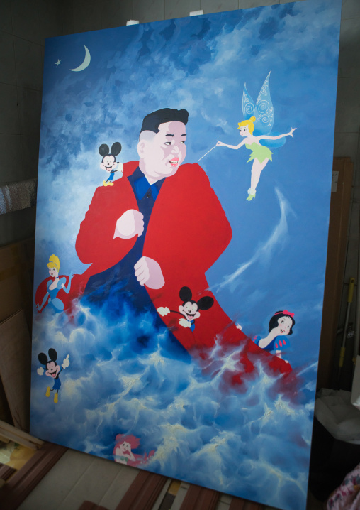 Kim il-sung sun and disney characters by sun mu artist, National capital area, Seoul, South korea