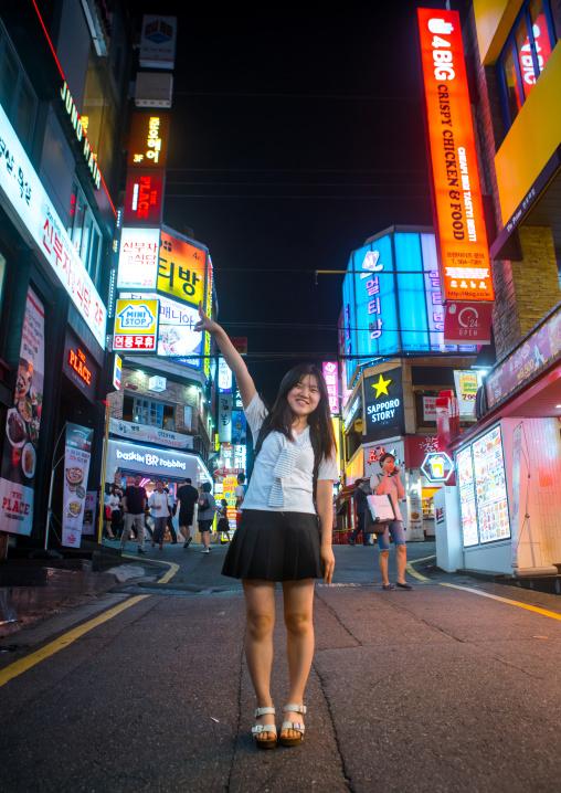 North korean teen defector in the streets of gangnam, National capital area, Seoul, South korea