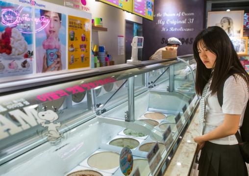 North korean teen defector in an ice cream shop, National capital area, Seoul, South korea