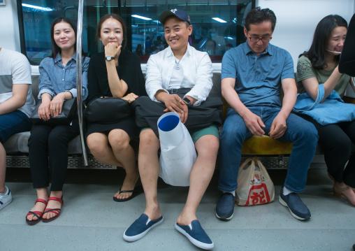 North korean defector joseph park on metro subway train, National capital area, Seoul, South korea