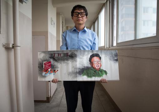 Former north Korea propaganda artist called Song Byeok, National Capital Area, Seoul, South Korea