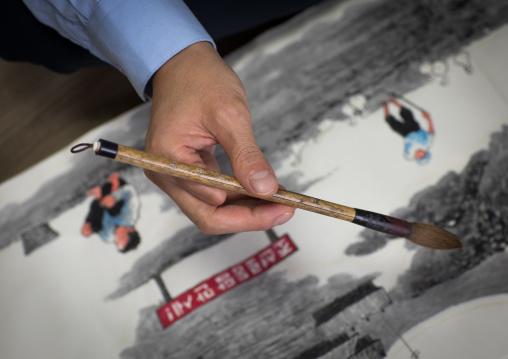 Former north Korea propaganda artist called Song Byeok  in his workshop, National Capital Area, Seoul, South Korea