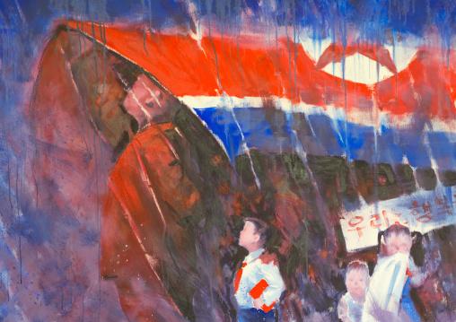 Painting depicting a Kim jong un by north Korean defector artist Sun Mu, National Capital Area, Seoul, South Korea
