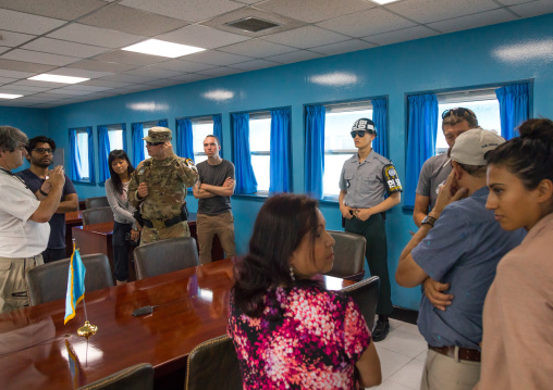 Group of tourists in the joint security area on the border between the two Korea, North Hwanghae Province, Panmunjom, South Korea