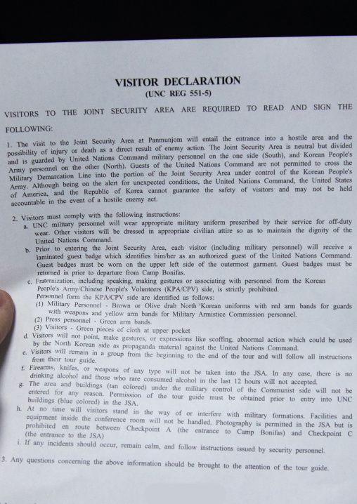 Visitor declaration that must be signed before visiting the DMZ, North Hwanghae Province, Panmunjom, South Korea