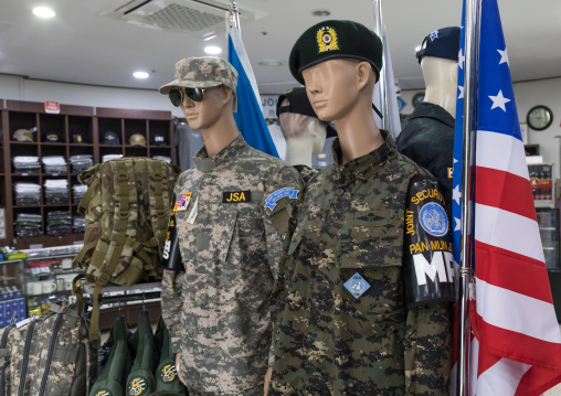 Military souvenirs sold at the DMZ on the north and south Korea border, North Hwanghae Province, Panmunjom, South Korea
