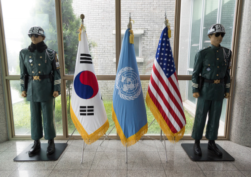 Soldiers dummies at the DMZ on the north and south Korea border, North Hwanghae Province, Panmunjom, South Korea