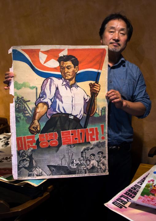 South Korean propaganda posters collector called Sang Kyun Choi, National Capital Area, Seoul, South Korea