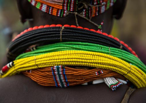 Detail of neclakces worn by Toposa tribe woman, Namorunyang State, Kapoeta, South Sudan