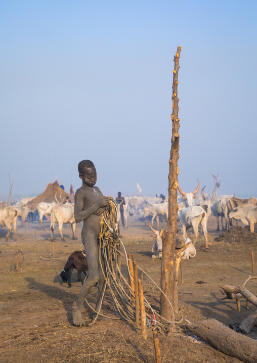 A Mundari tribe boy prepares the ropes to tie the cows in a cattle camp, Central Equatoria, Terekeka, South Sudan