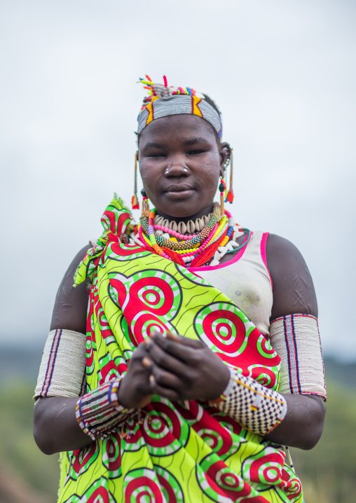 Portrait of a Larim tribe woman with a decorated headwear, Boya Mountains, Imatong, South Sudan