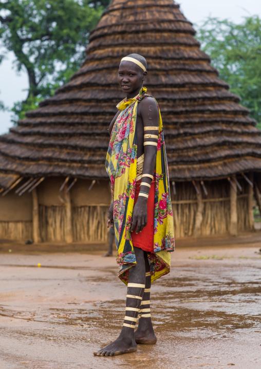 Portrait of a Larim tribe woman wearing bark bracelets as a sign of mourning, Boya Mountains, Imatong, South Sudan