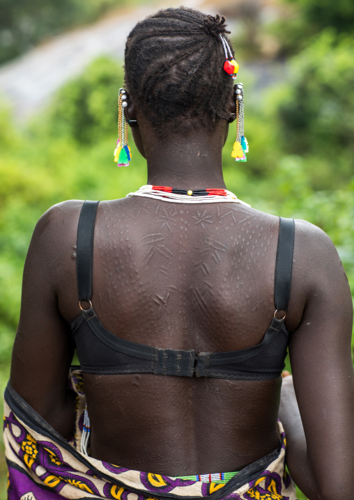 Larim tribe woman scarifications in her back, Boya Mountains, Imatong, South Sudan