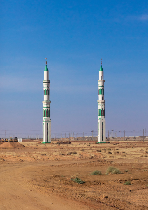 Two minarets of a future mosque, Khartoum State, Khartoum, Sudan