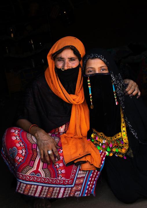Portrait of a Rashaida tribe mother with her veiled daughter, Kassala State, Kassala, Sudan